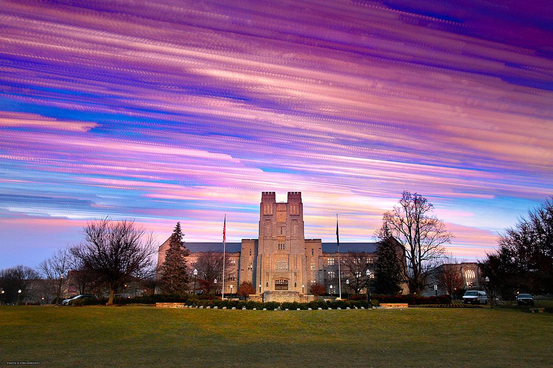 Burruss Hall, Sunset Timelapse. Virginia Tech.