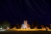 Star Trails and a meteor behind Burruss Hall. Virginia Tech.