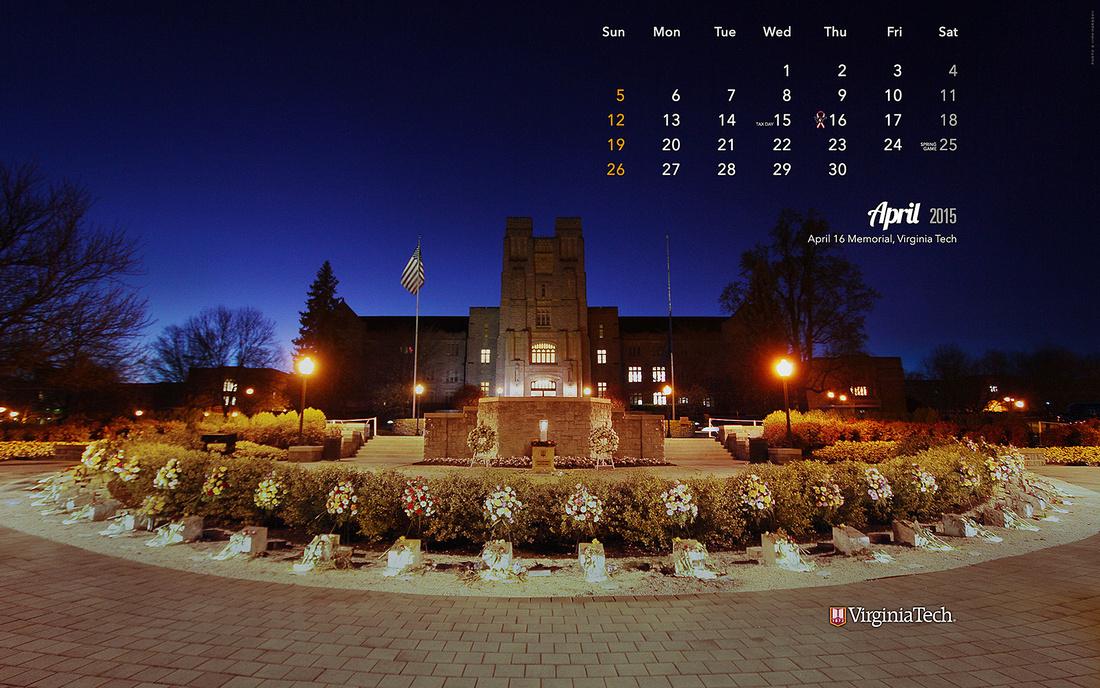 Desktop Wallpaper, April 2015. Virginia Tech.