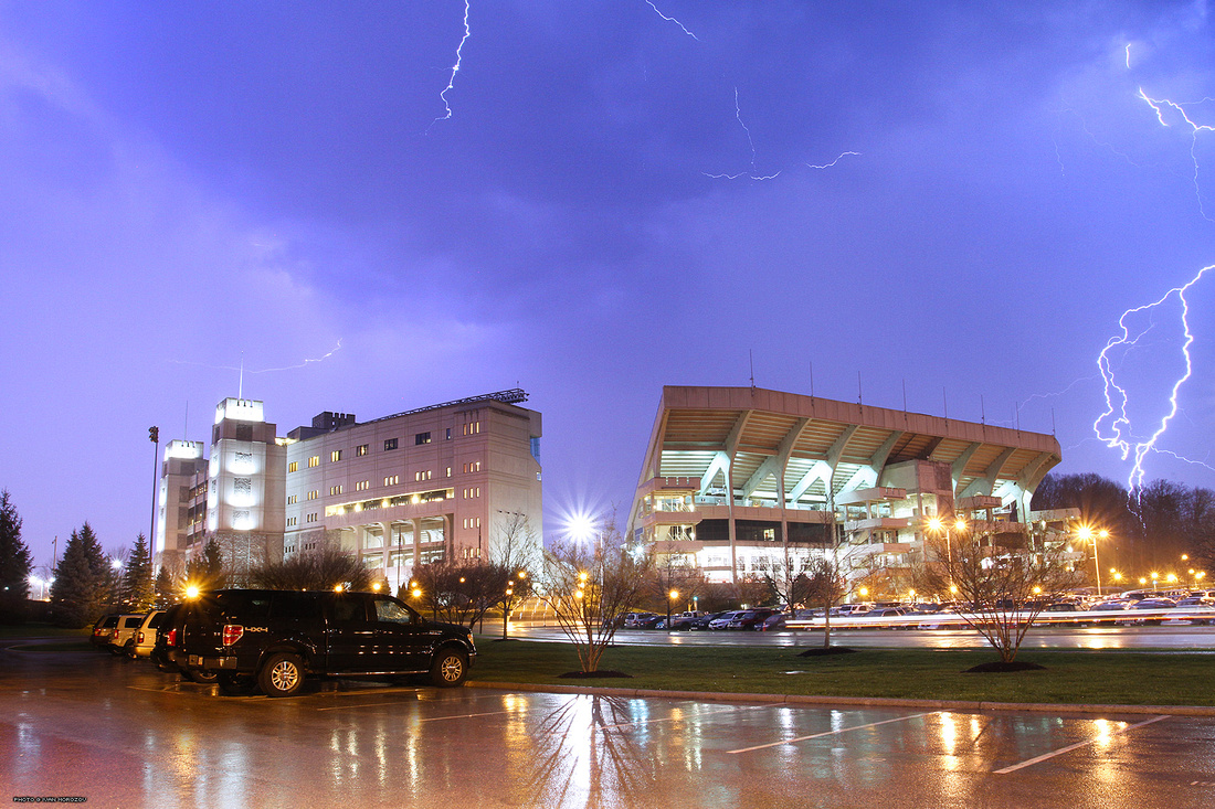 2015.04.09. Lane Stadium, Lightning. Virginia Tech.