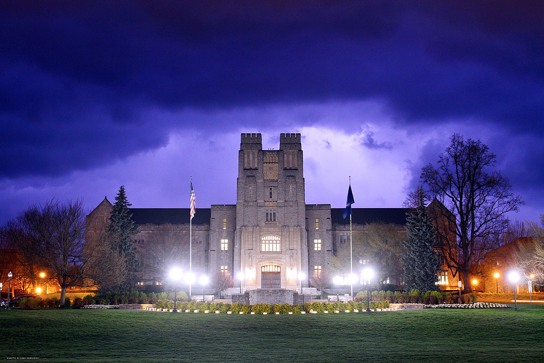 Burruss Hall, Lightning. Virginia Tech.