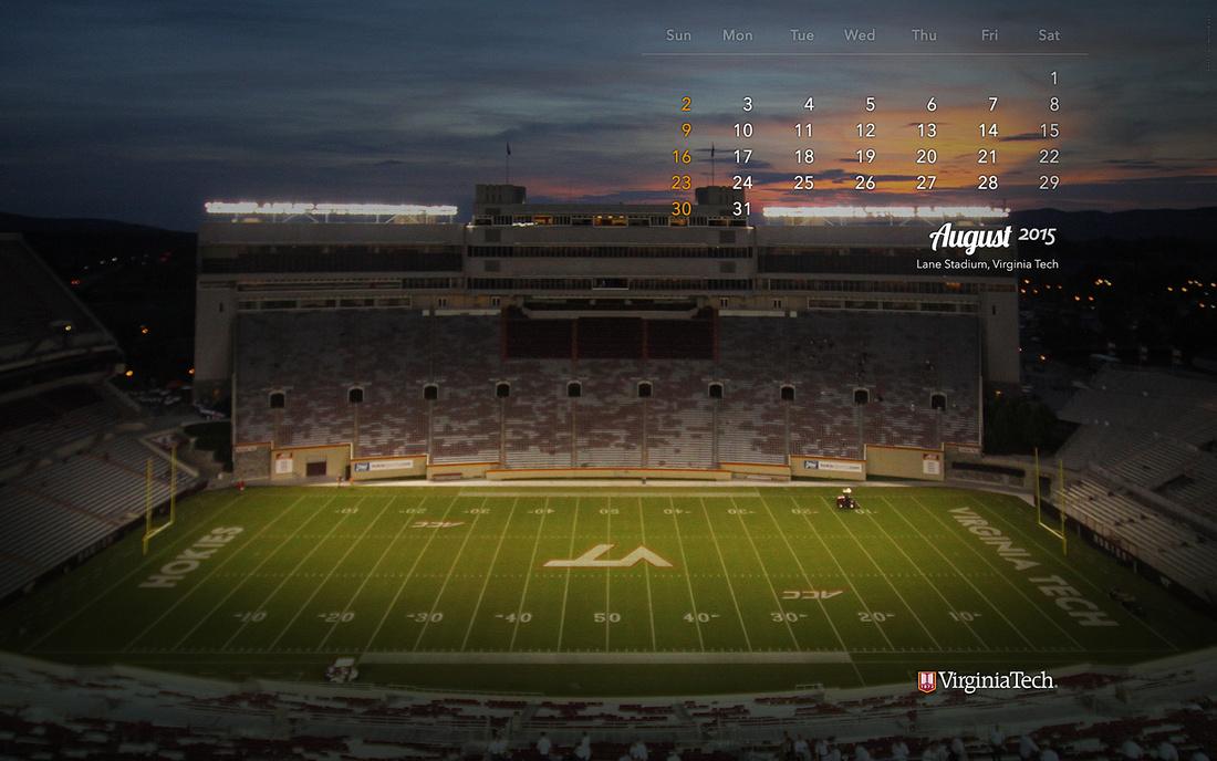 Desktop Wallpaper, August 2015. Virginia Tech.