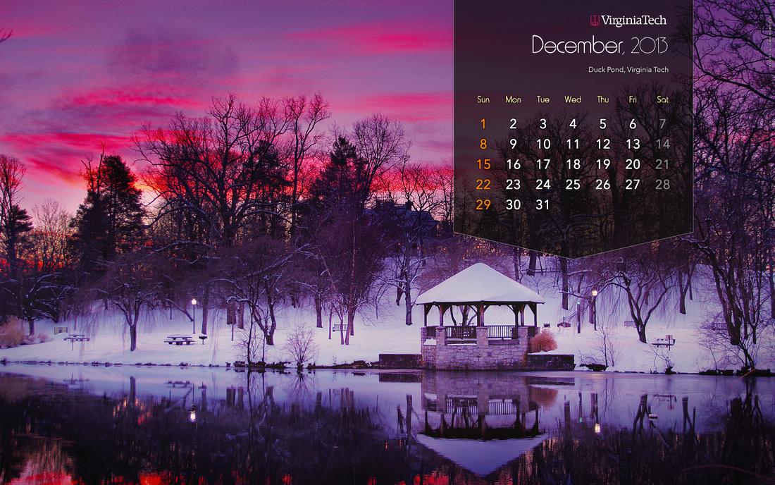 Calendar | Wallpaper | Duck Pond | Virginia Tech | Desktop