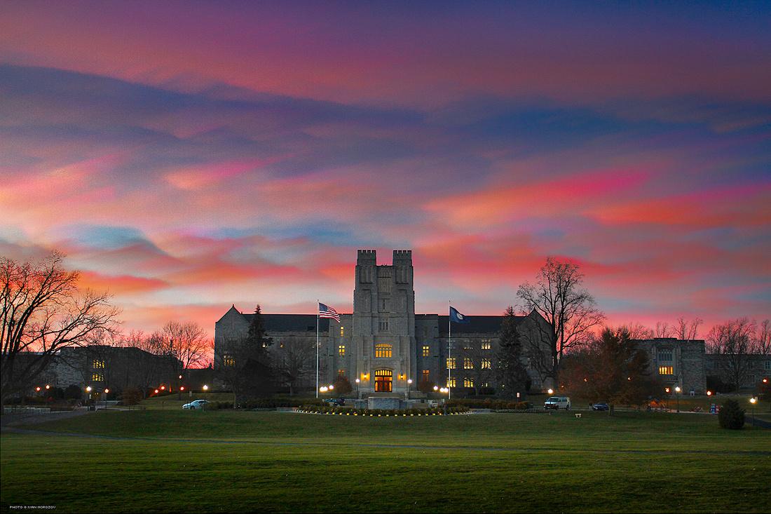 Burruss Hall sunset time stack. Virginia Tech.