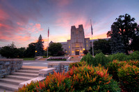 A quiet July evening at Burruss Hall on the campus of Virginia Tech.
