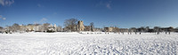 Drillfield and Burruss Hall winter panorama. Virginia Tech.