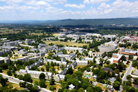 Aerial photography of Virginia Tech campus. Virginia Tech. Residence halls, Drillfield, Burruss Hall.