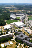 Aerial photography of Virginia Tech campus. Virginia Tech. Lane Stadium, Cassell Coliseum, Hahn Hurst Basketball Practice Center.