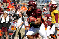 FB. 2013. Spring, football scrimmage at Virginia Tech.