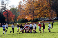 Students playing rugby on the Drillfield. Virginia Tech.