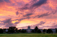 Summer sunset over Drillfield. Virginia Tech.